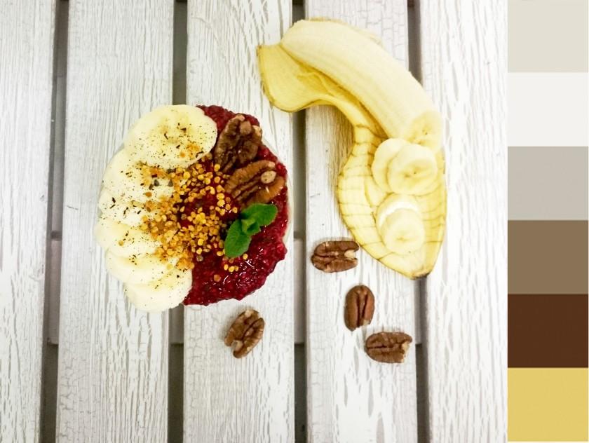 spelt cream, plain yoghurt, raw chia raspberry marmalade, banana, pecan, flower pollen