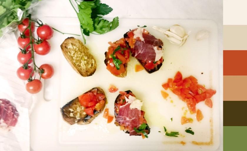 Tapa tomato crostini, ham, garlic, basil