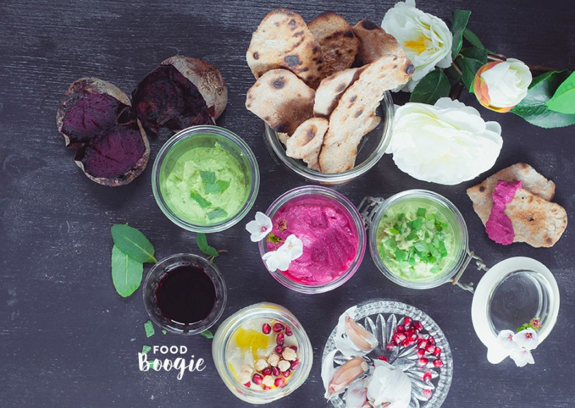 Hummus Beet root, cilantro, egg plant, peas mint