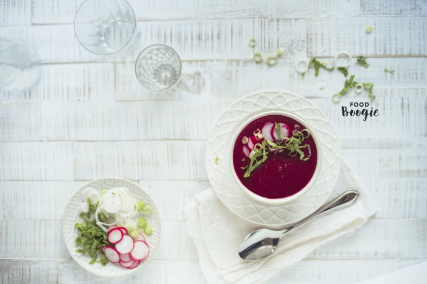 raw red beet radish soup, first course