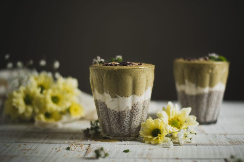 Chia pudding with Matcha Ice Cream and Cashew vanilla cream